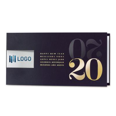 Blauwe nieuwjaarskaart 2020 met venster voor logo en internationale wensen (849.028)