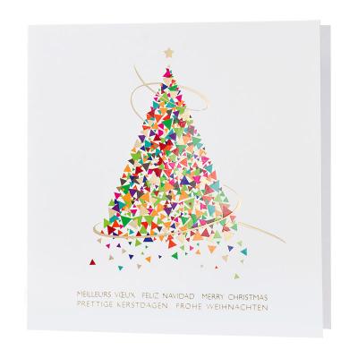Vierkante kerstkaart met kleurrijke trendy kerstboom met details in goudfolie (868.117)